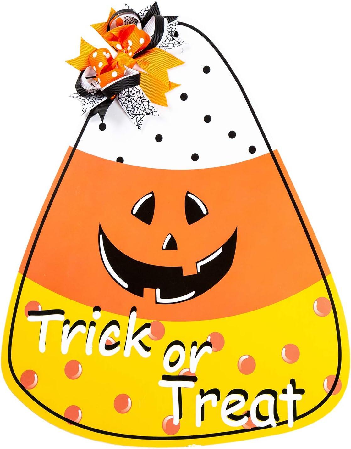 Funnlot Halloween Decor Candy Corn Door Decor Trick or Treat Wreath Hanging Sign Indoor Outdoor Wall Decorations Sign Hanger for Halloween Party Supplies Decorations