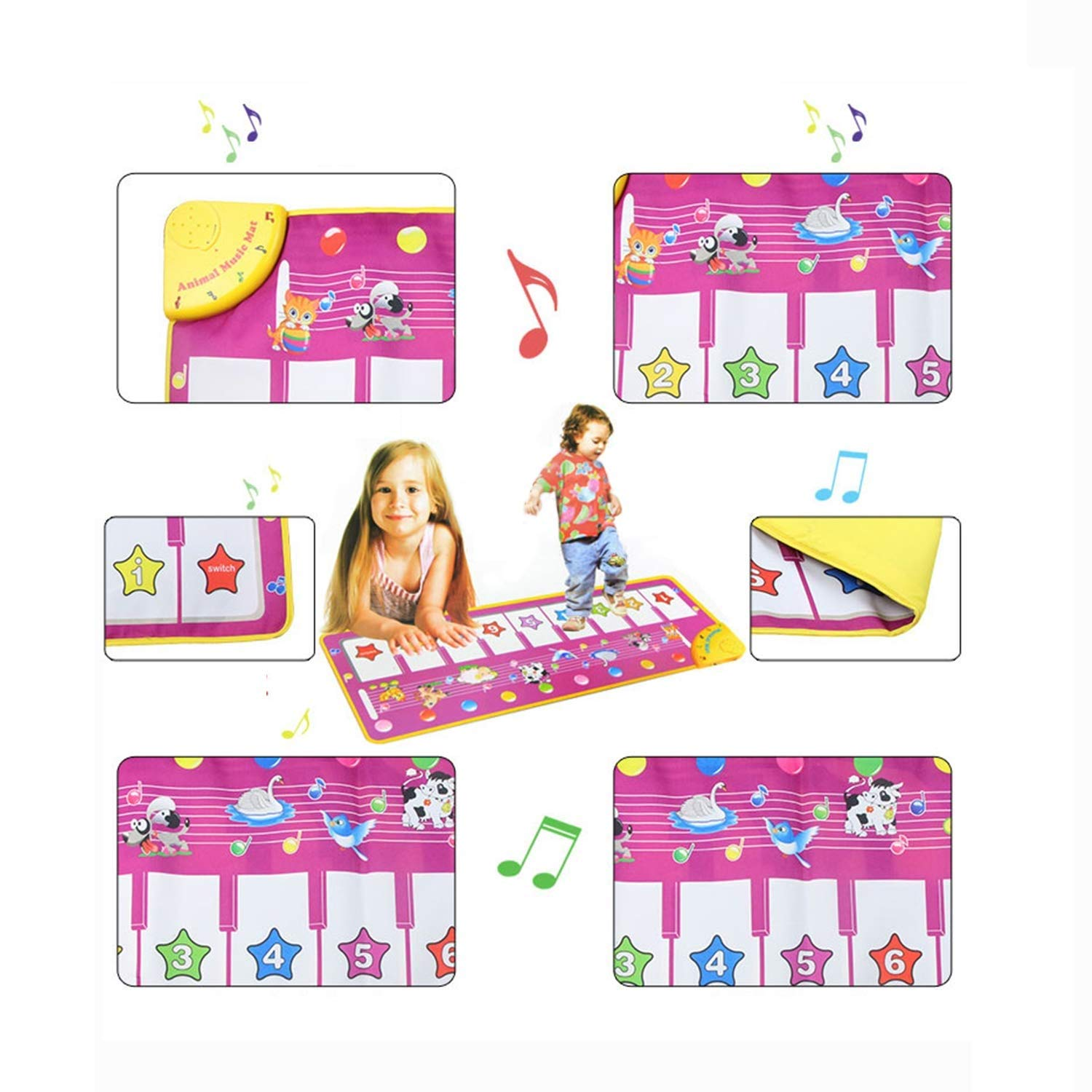 Creative Piano Game Mat, Multi-Function Music Singing Gym Carpet Mat, Children's Entertainment Mat (100x36 cm) by Sunny (Image #5)