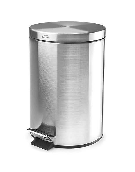 Lacor 63303 - Papelera inoxidable con pedal y cubo, 5 litros