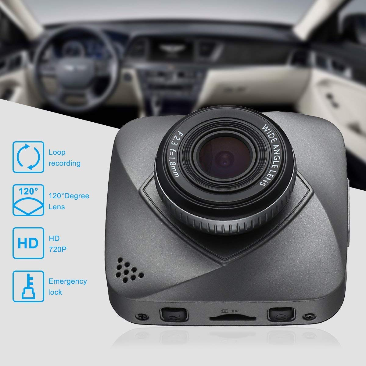 isyoung Car Dash Cam, 720P HD Dashboard Camera Recorder, 120 Degree Wide Angle View DVR Camera Video Recoder with Loop Recording