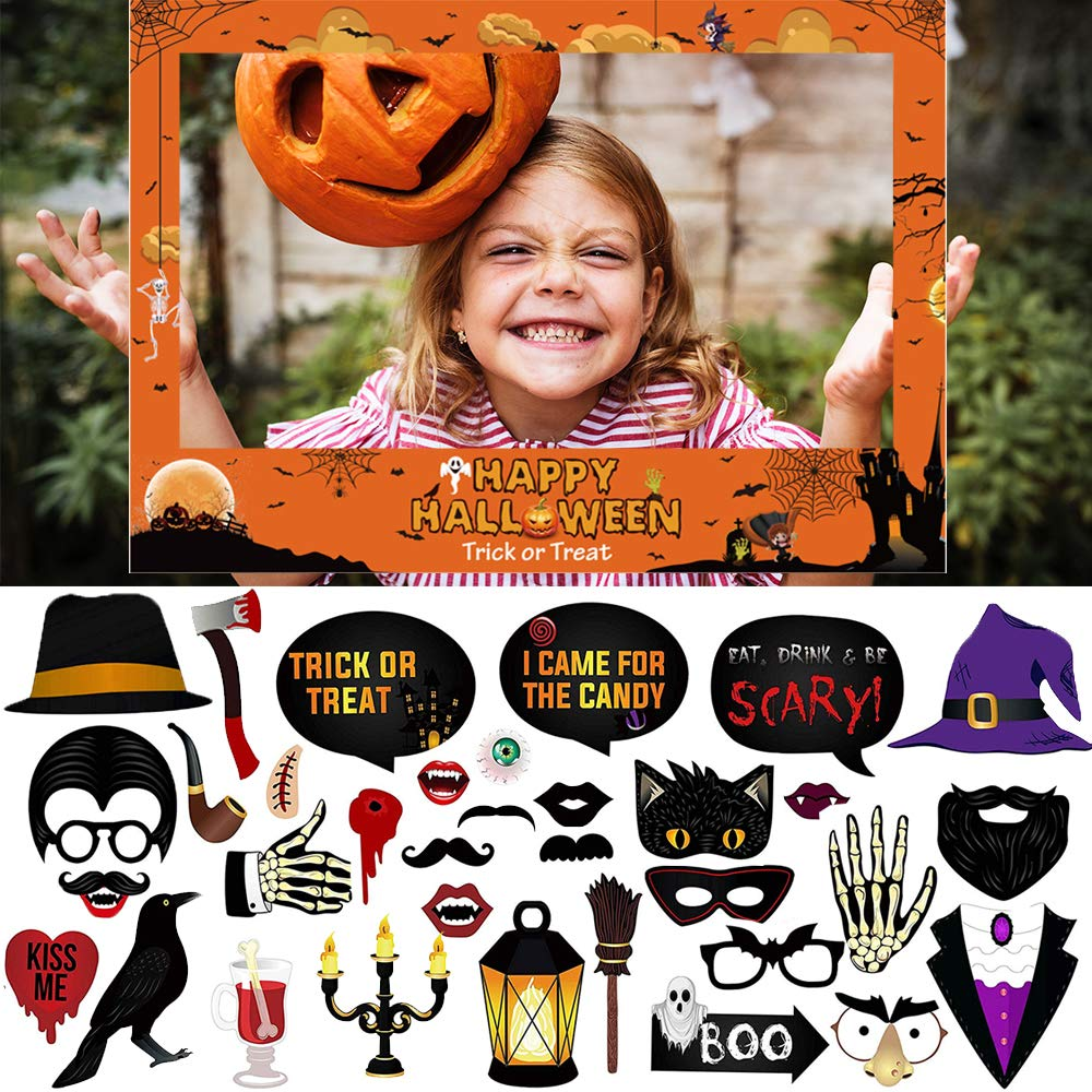 CAKKA Halloween Photo Booth Props, 35PCS Photobooth Props with 1 Large Photo Frame (20x28''), Creepy Costume Treat or Trick Props for Halloween Decoration Favor, Funny Halloween Prop Signs by CAKKA