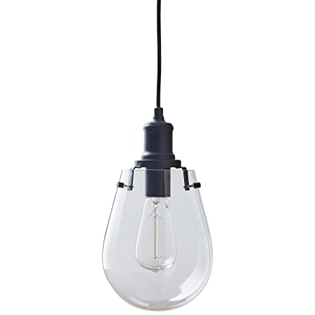 Stone Beam Melissa Industrial Round Glass Single Pendant Fixture With Light Bulb – 6.75 x 6.75 Inches, 14.5 – 62.5 Inch Cord, Black