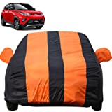 Autofact Car Body Cover for Mahindra KUV100 (Mirror Pocket Fabric, Triple Stiched, Fully Elastic, Orange/Blue Color)