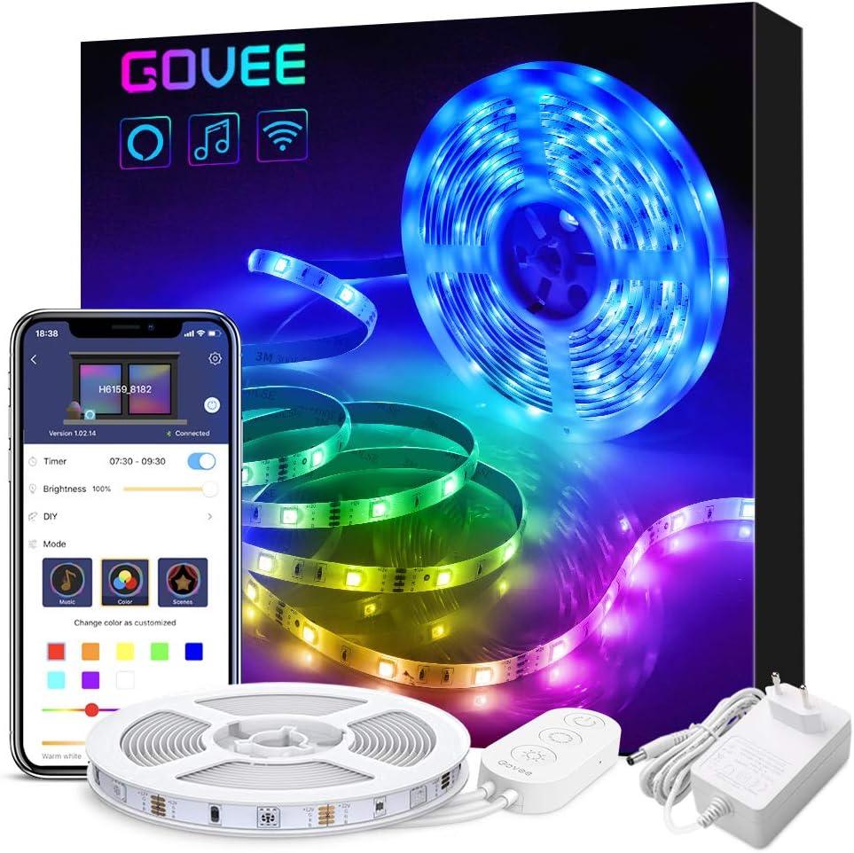 Govee WiFi Tiras LED 5M Alexa, Luz de Tira LED Smart 5050 Control APP, Sync con Música Multicolor, Kit de Luces LED Funciona con Alexa, Google Home,Luces Decorativas para Navidad y Fiestas,12V 1.5A