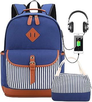 Mochila Lona Mujer Casual Mochila para Portátil Set de Mochilas Escolares Juveniles para Chicas Adolescentes Niña con Puerto USB y para Auriculares Incluye Bolsa del Almuerzo Azul: Amazon.es: Equipaje