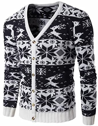 Rrinsins Mens Comfy Floral Print Christmas Button Up Knitwear