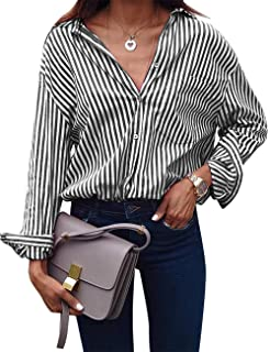 db03760af2 ACKKIA Women Casual V Neck Vertical Striped T Shirt Long Sleeve Button Down  Tops
