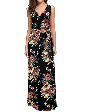 FeelinGirl Mujer Vestido Maxi Estampado Floral Espalda Abierta ...