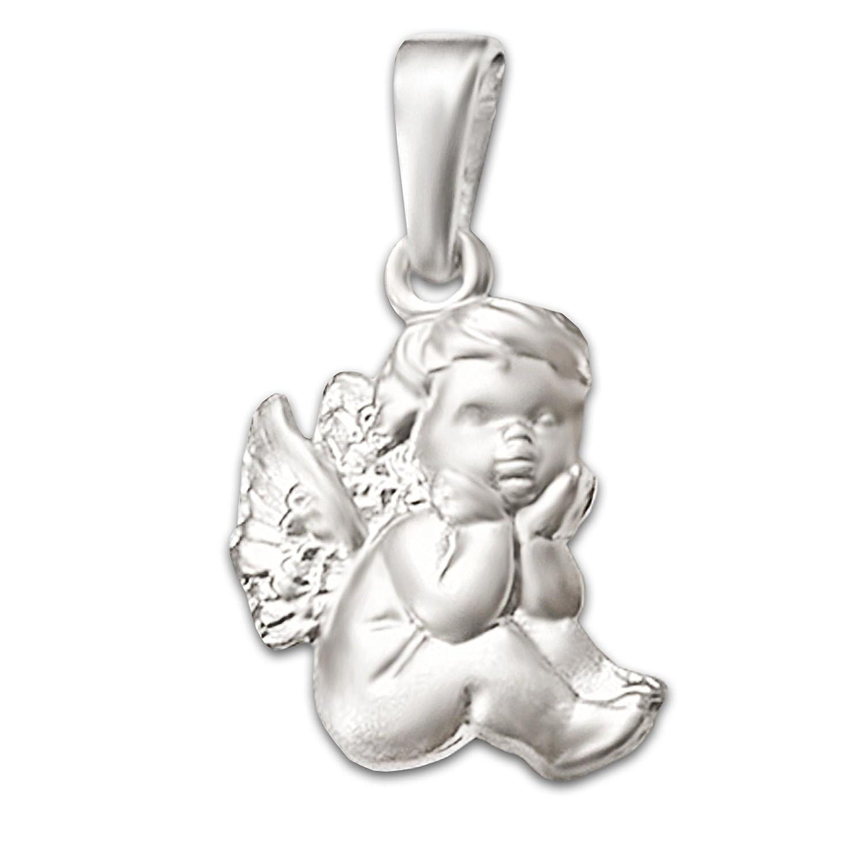 CLEVER SCHMUCK Silberner Anhänger 12 mm Kleiner Babyengel sitzend seidenmatt Sterling Silber 925 in Geschenkfaltbox ahs4006-ohne