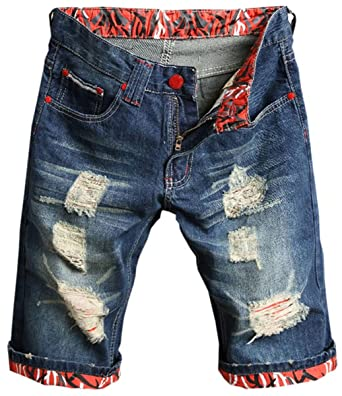 Mioubeila Mens Jeans Summer Casual Ripped Denim Hemmed Shorts with Holes  Blue + Red b3fef83c1b7