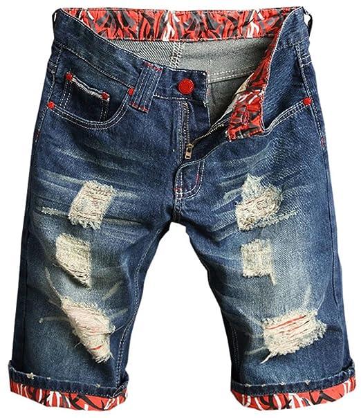 Amazon.com: mioubeila para hombre Denim pantalones cortos ...