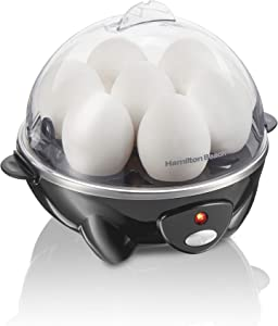 Hamilton Beach 3-in-1 Electric Hard Boiled Egg Cooker, Poacher & Omelet Maker, Holds 7, Black (25507)