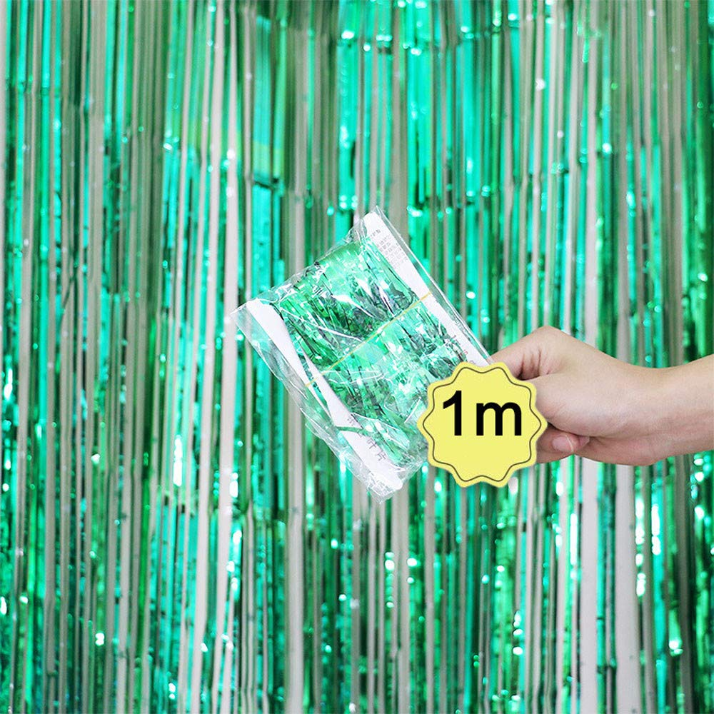 Sinwo 1 Pack Tinsel Foil Fringe Photo Backdrop for Birthday Party Wedding Decor (Green)