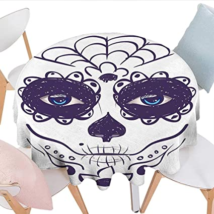 Longbuyer Day Of The Dead Decor Oval Tablecloth Dia De Los Muertos Sugar  Skull Girl Face