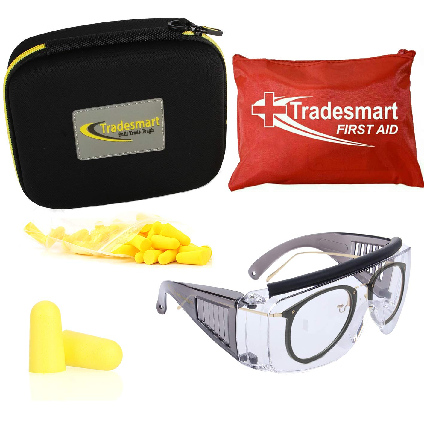 TRADESMART Over Prescription Glasses and Ear Plugs - Ear and Eye Protection for The Gun Range with 37 pc First Aid Kit, - UV400 Anti-Fog and Anti-Scratch Clear Glasses (Yellow) by TRADESMART BUILT TRADE TOUGH