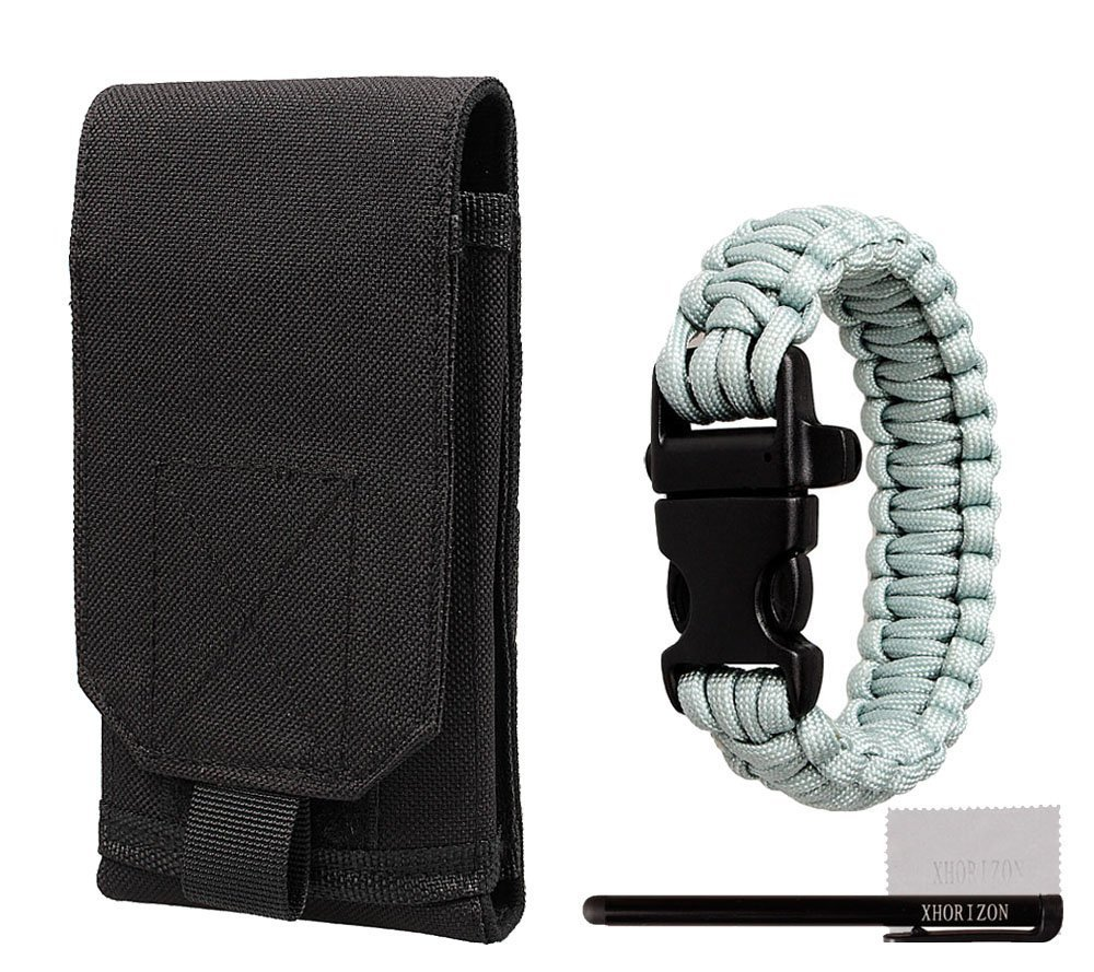 10bracelet Xhorizon Black Army Camo Universal Bag For Mobile Phone Hook Loop Belt Pouch Holster Case Cover Za5 And Adjustable Outdoor Survival Paracord Bracelet Whistle As Gift With Xhorizon Stylus And