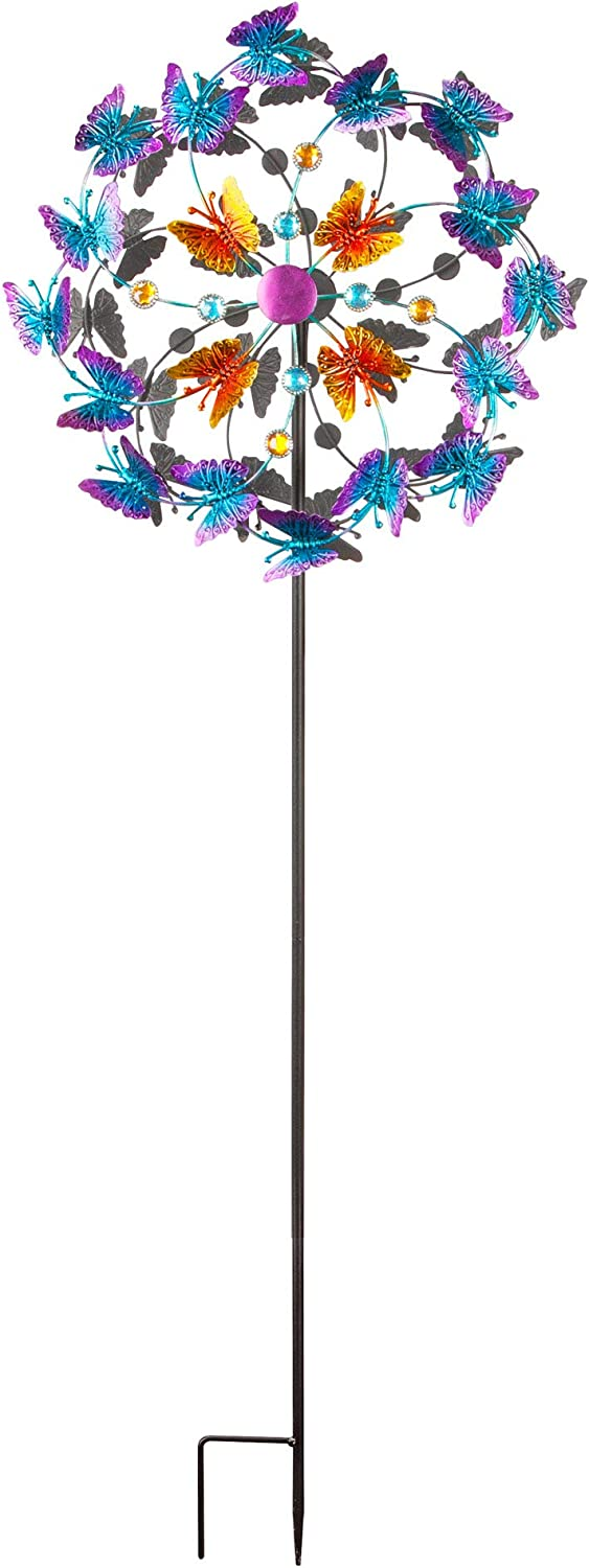 The Paragon Butterfly Wind Spinner for Lawn and Garden Decor Outdoor Double Twirl Yard Decoration