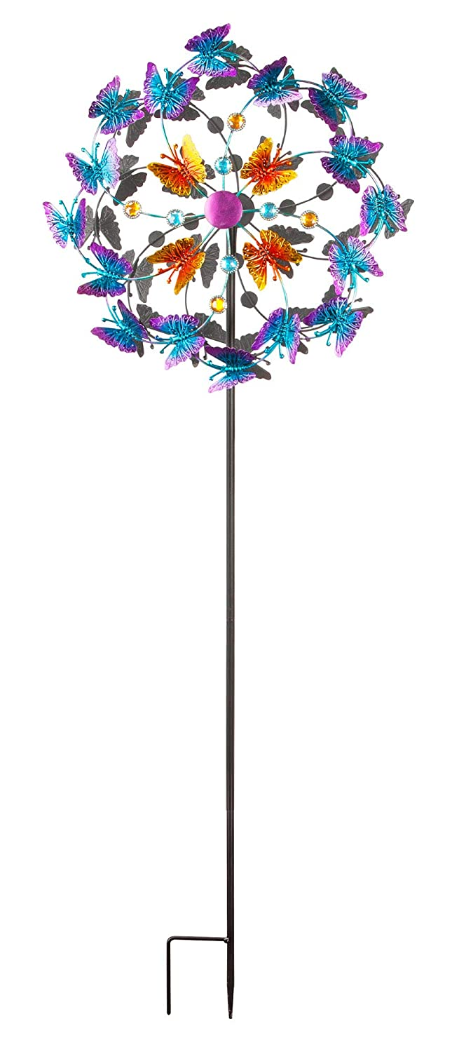 The Paragon Butterfly Wind Spinner for Lawn and Garden Decor, Outdoor Double Twirl Yard Decoration