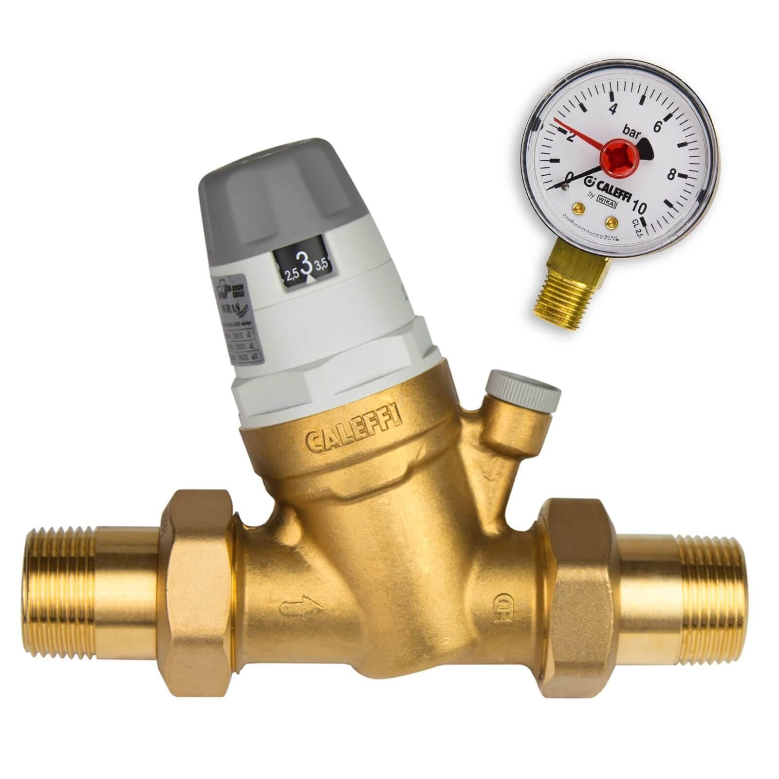 Caleffi Water Pressure Regulator 1/2 Inch DN15 Pressure Reducer for Water with Replaceable Cartridge and Pressure Gauge, Pressure Reducing Valve, Pressure Regulator 535041, Multi-Coloured