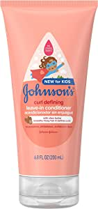 Johnson's Curl Defining Tear-Free Kids' Leave-In Conditioner with Shea Butter, Paraben-, Sulfate- & Dye-Free Formula, Hypoallergenic & Gentle for Toddlers' Hair, 6.8 fl. oz