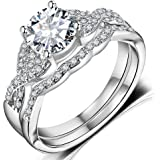 Amazon Price History for:Hiyong Swirl Engagement Infinity Stacking Rings - Round Cut Cz Center Bridal Matching Band Set Size 5-11