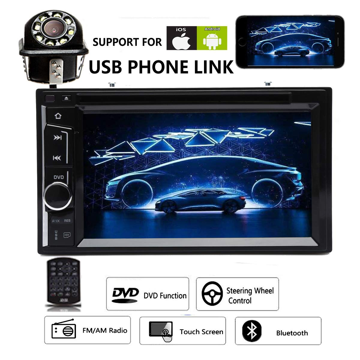 Car Stereo DVD CD Player Radio Bluetooth Touchscreen 6.2