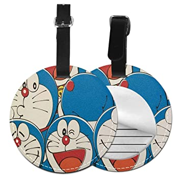 WEIBING Round Luggage TagDoraemon Luggage Tags Suitcase Labels Bag Travel Accessories