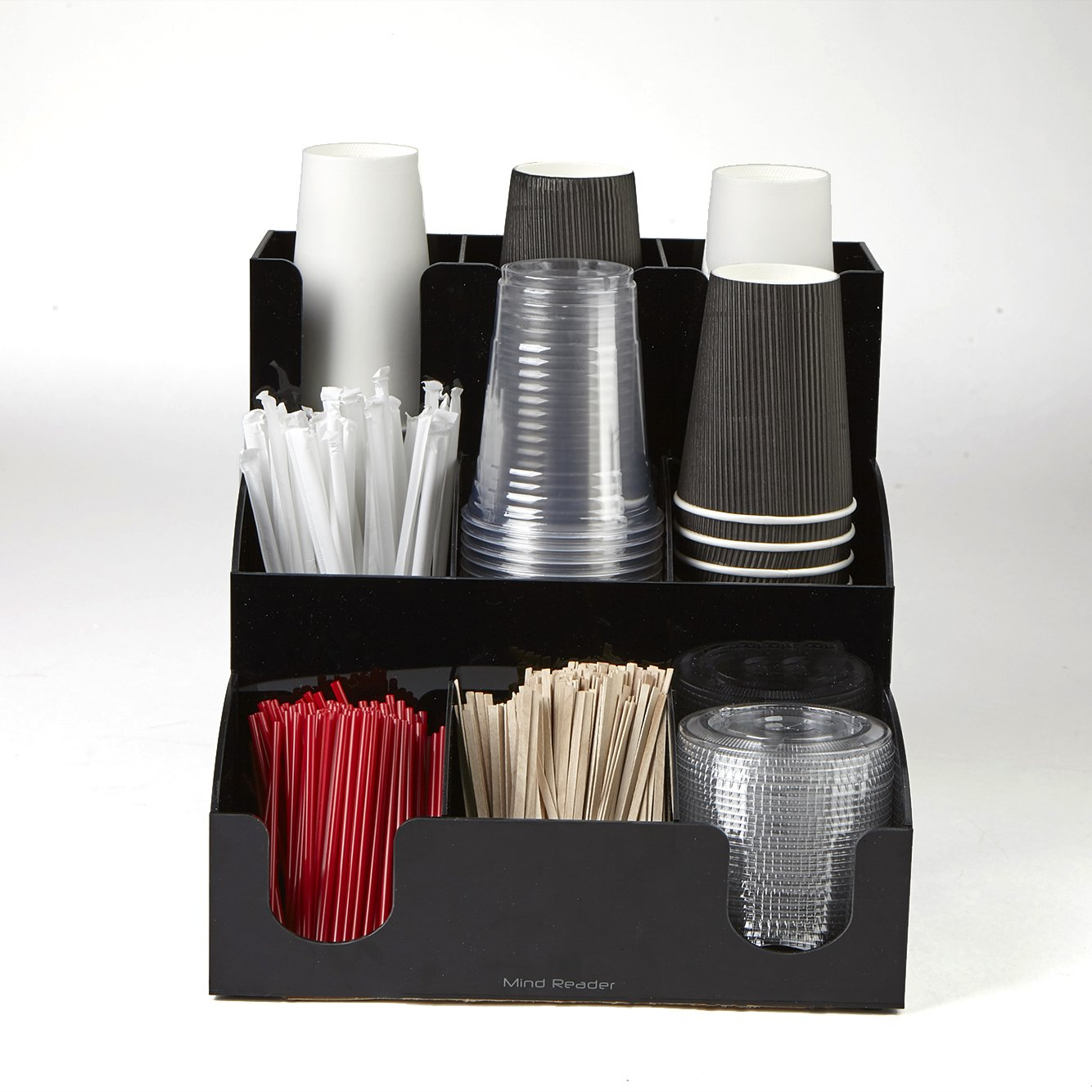 Mind Reader 9 Compartment Coffee Condiment and Accessories Organizer, Black by Mind Reader (Image #4)