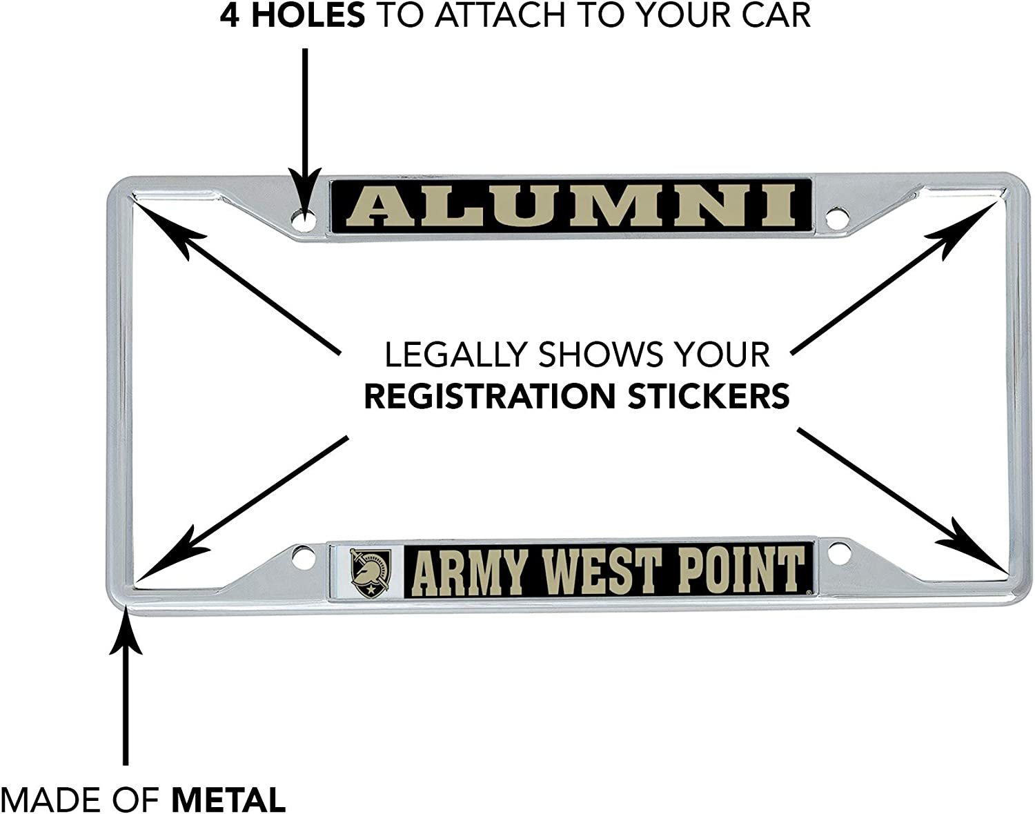 Alumni Desert Cactus United States Military Academy USMA Black Knights NCAA Army West Point Metal License Plate Frame for Front Back of Car Officially Licensed