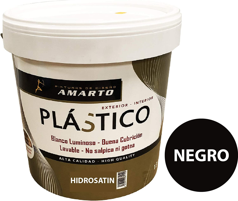 Hidrosatin Pintura Plastica Satinada en colores vivos, especial rotulacion. (4 L, Negro)