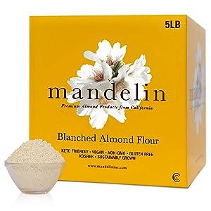 Mandelin Grower Direct Blanched Almond Flour Keto - Super Fine 100% Almond Powder Meal, Non-GMO, Gluten Free, Vegan, Plant Based Diet Friendly (5 lb)