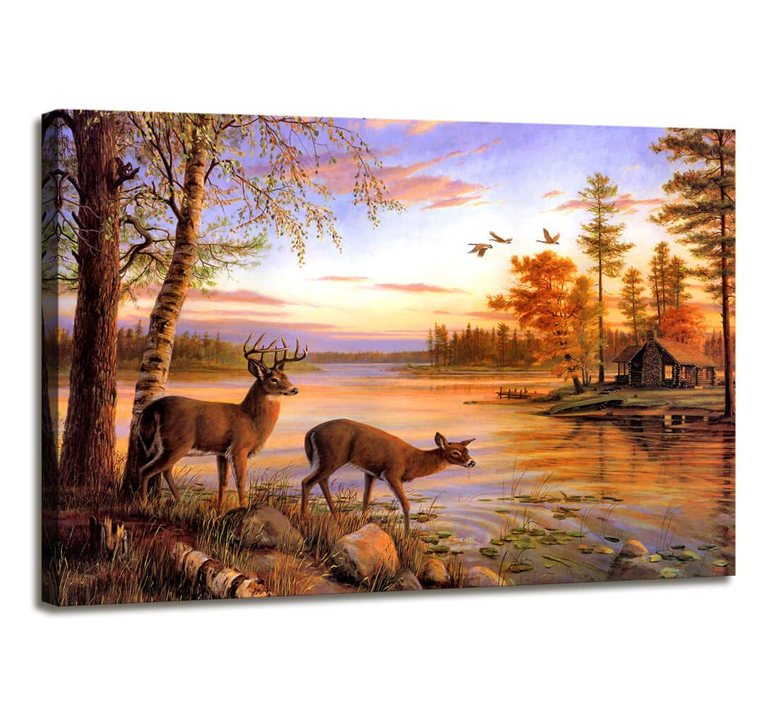 Cabin Decor Whitetail Deer Wall Decor Rustic Wildlife Deer Canvas Wall Art Farmhouse Decor - Modern Large Canvas Painting Framed Wall Art Canvas Prints for Living Room Office Bedroom Decor 24x36 inch
