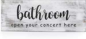 SHYi Bathroom Open Your Concert Here-Decorative Sign Wall Decor - Funny Rustic Farmhouse Decoration Housewarming Gifts - 15x5 Inches