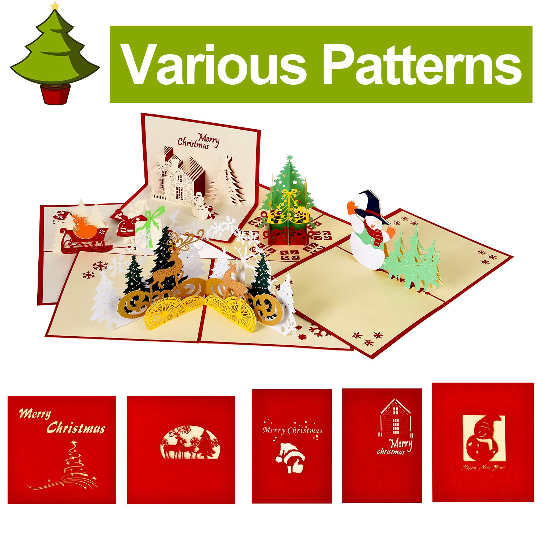 5 Stile 5 St/ück Weihnachten 3D Karten Nette Pop Up Karten Urlaub Gru/ßkarten mit Umschlag f/ür Weihnachten Geburtstag Neujahr Muttertag Gef/älligkeiten