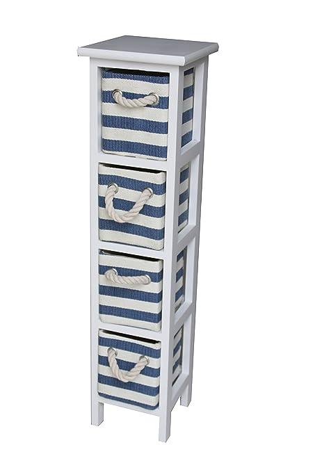 Armadietto Moderno Stile Shabby Chic Nautico In Legno Colore Blu