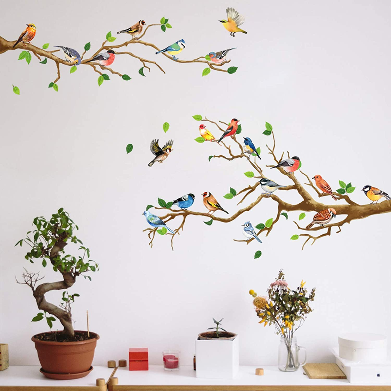 DILIBRA Hummingbird on The Tree Branch Wall Sticker, Green Leaf and Flying Bird DIY Art Vinyl Wall Decal, Self-Adhesive Wall Decoration for Garden Living Room Bedroom Kitchen Playroom Nursery Room