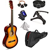 """38"""" Wood Guitar With Case and Accessories for Kids/Boys/Girls/Teens/Beginners (38"""", Sunburst)"""