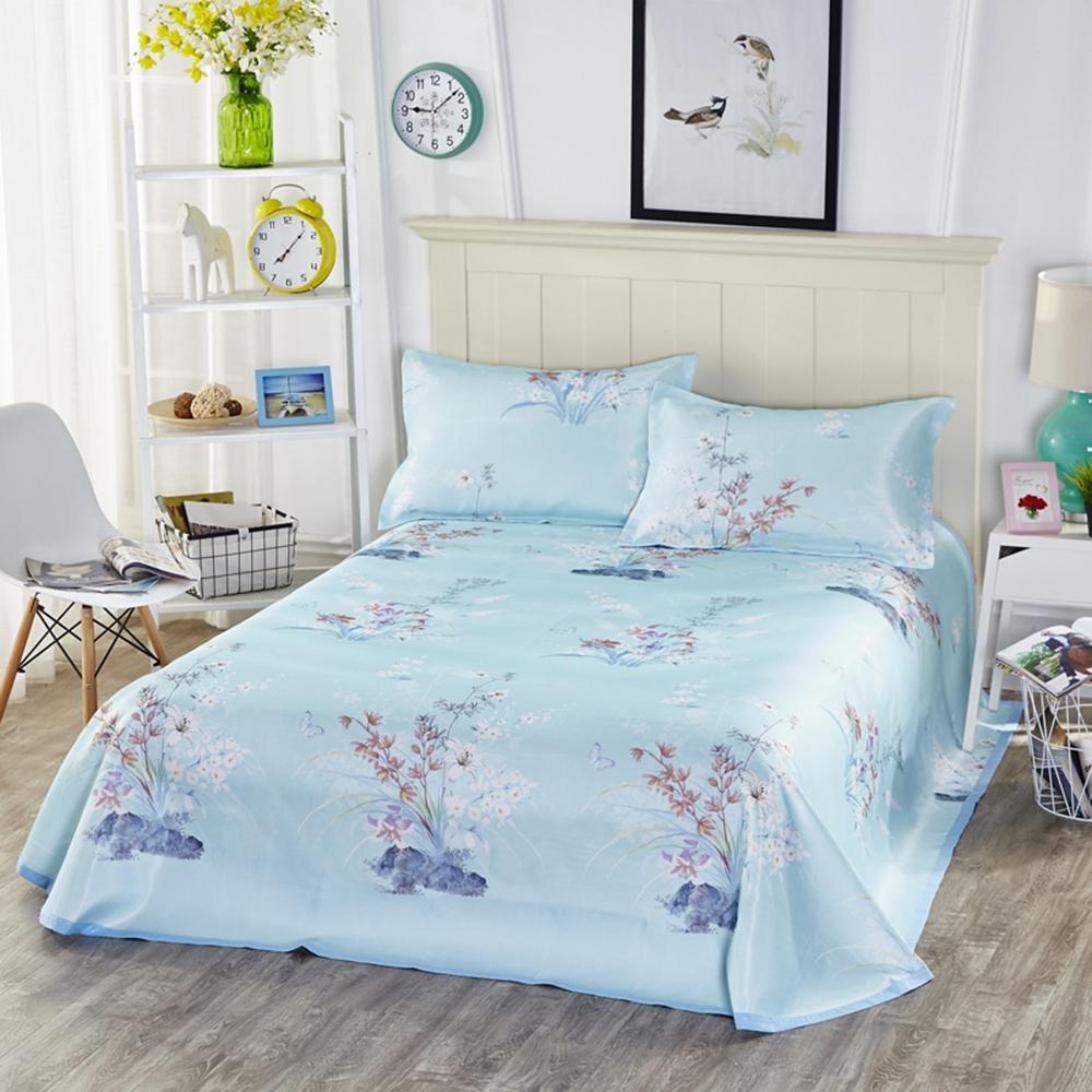 KOBWA Summer Cool Mattress Set, Printing Ice Silk Mat, Foldable Summer Sleeping Mat(1mat 2pillowcase),2.3m×2.5m,Green