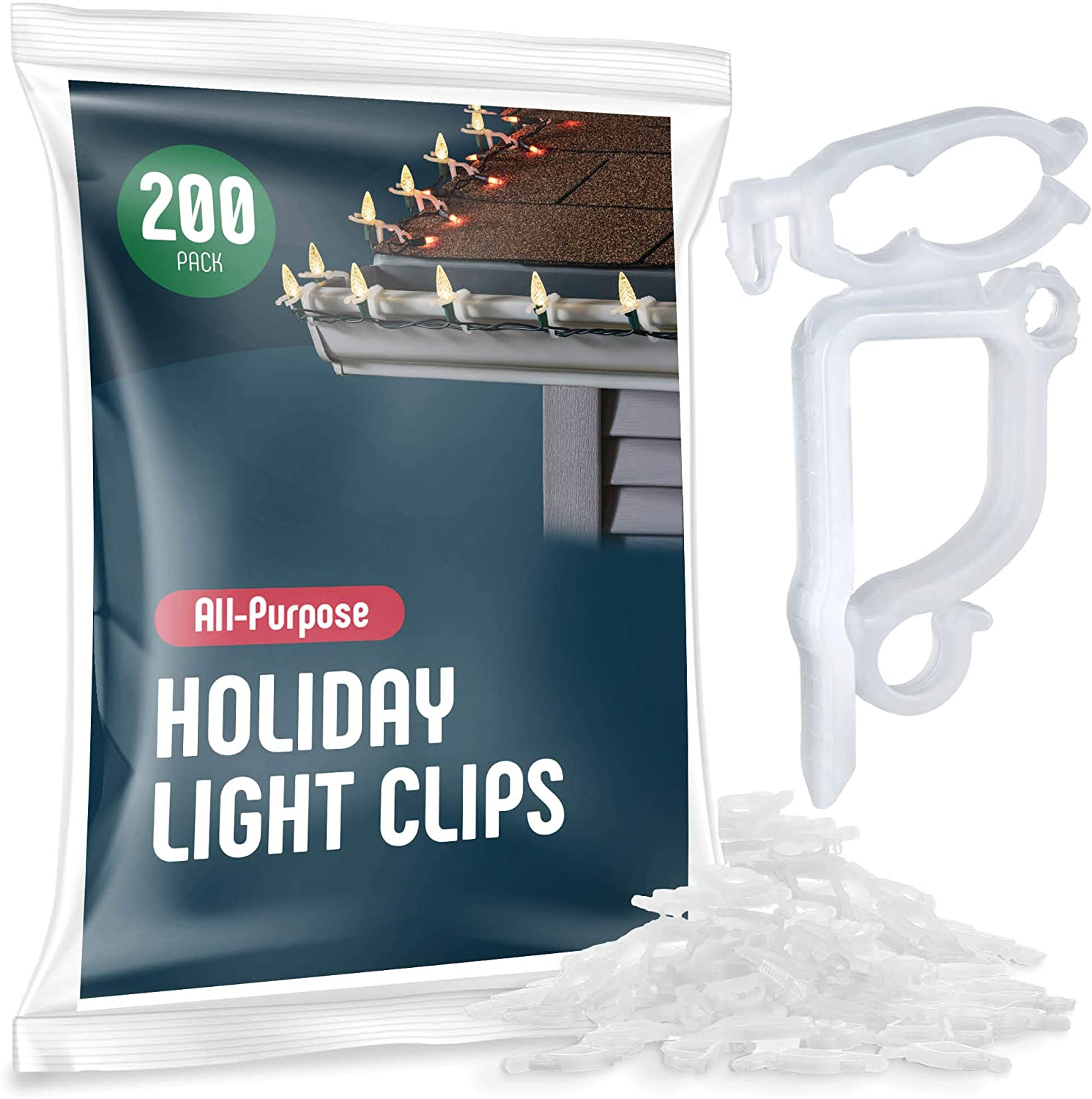 All-Purpose Holiday Light Clips [Set of 200] Christmas Light Clips, Outdoor Light Clips - Mount to shingles & gutters - Works with Mini, C6, C7, C9, Rope, Icicle Lights - No tools required - USA Made