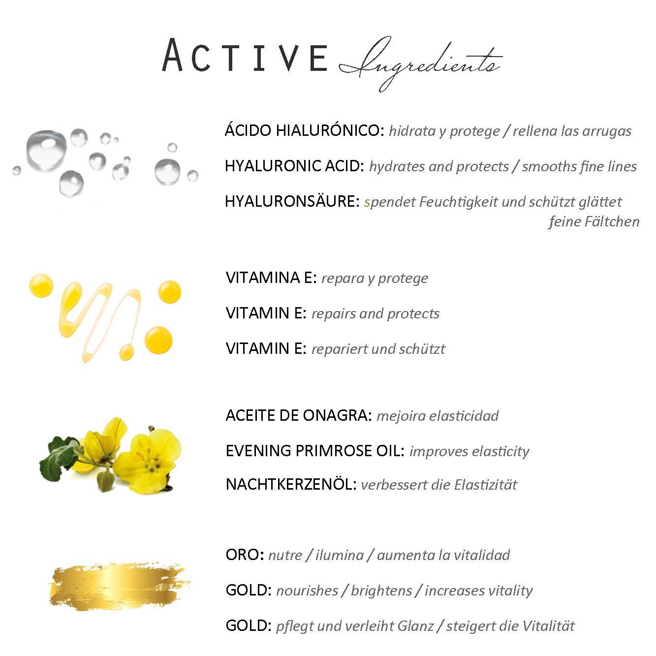 100ml Serum Facial con Ácido Hialurónico +Vitamina E - Antiedad/Antiarrugas/Hidratante/Antioxidante/Iluminador - Orgánico&Vegano/GOLD&GLOW de Beysey.