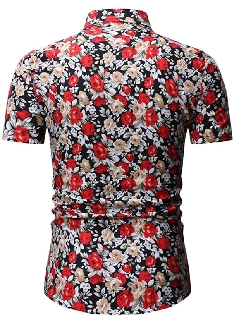 HTOOHTOOH Mens Patterns Aloha Beach Casual Summer Short Sleeve Button Front Shirts