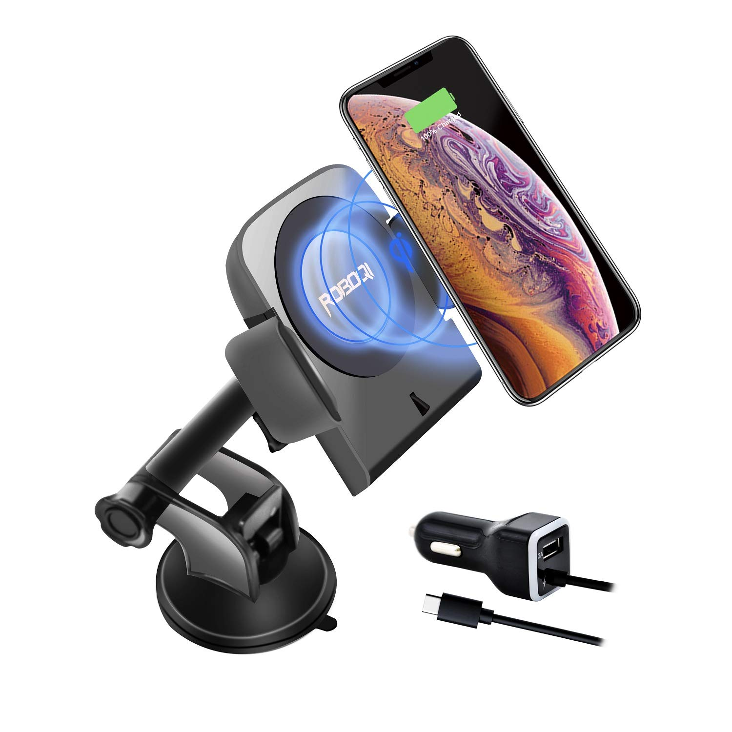 ROBOQI Wireless Car Charger, Automatic Clamping, Fast Charging, Qi-Certified Wireless Charger/Car Phone Holder, Wireless Car Charger Mount for iPhone, Samsung, Galaxy Note, 10w Fast Charging.