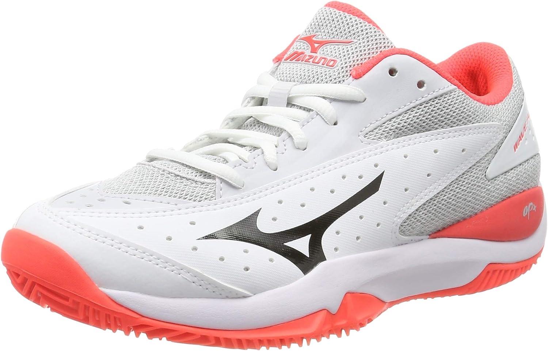 Mizuno Wave Flash CC, Zapatillas de Tenis para Mujer, Blanco (White/Dark Shadow/Fiery Coral 08), 42.5 EU