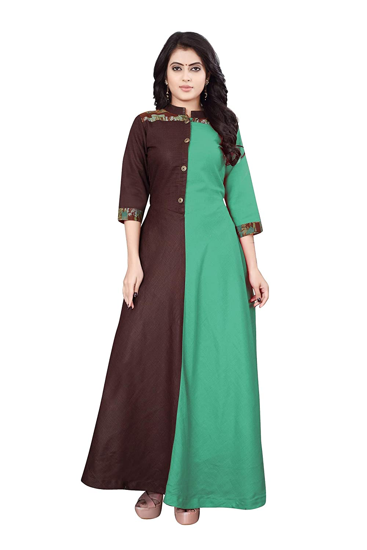 bd3e97355 Leriya Fashion Women s 3 4-Sleeve Anarkali SlubRayon Kurti-Brown  Amazon.in   Clothing   Accessories