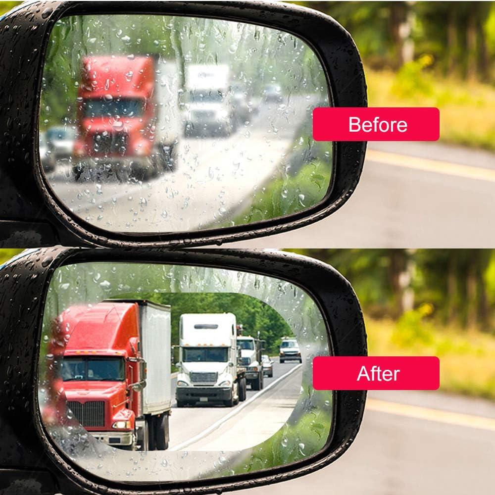 Catizon Regenfest Auto Rückspiegel Schutzfolie Anti Fog Blendschutz Anti Mist Kratzfest Micro Nano Beschichtung Seitenspiegel Clear Protector 2 Stück 9 5 X 9 5 Cm Auto