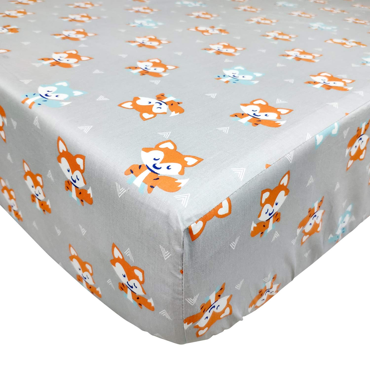 One Crib Sheet Brandream Woodland Crib Bedding Sets for Boys with Bumpers, Fox Arrow Baby Girl Nursery Bedding,Unisex,11 Pieces, 100% Hypoallergenic Cotton
