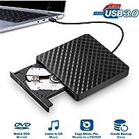 BhdLovely External DVD Laufwerk, USB 3.0 Externe DVD/CD Brenner Tragbaren DVD-RW Slim Laufwerk Unterstützt Windows 7/8/10/Vista/XP Systeme für Laptops, Desktops, Notebooks, Mac - Schwarz