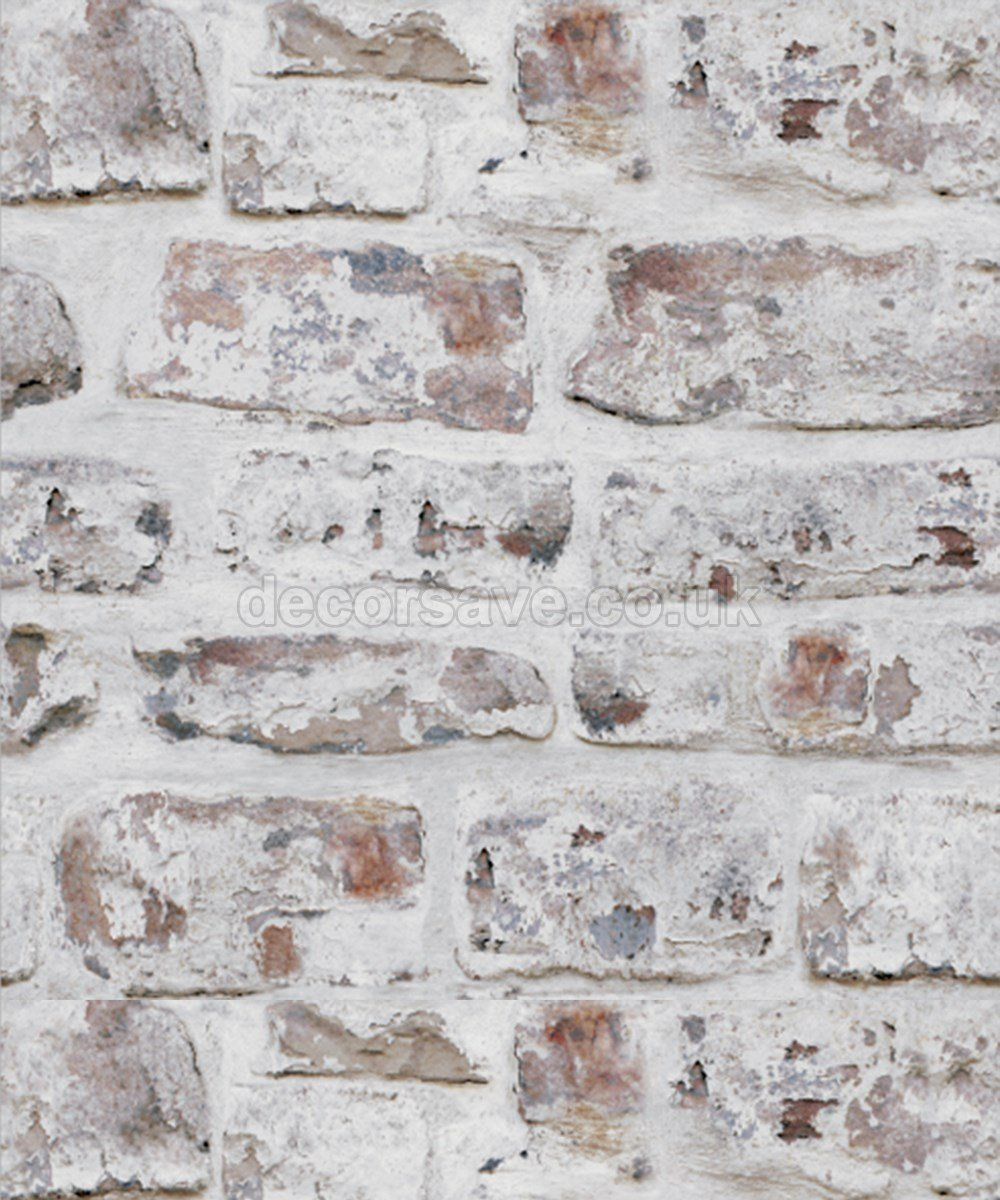 Arthouse Brick Effect Brown White Old Weathered Rustic Whitewashed Wallpaper By Amazoncouk DIY Tools