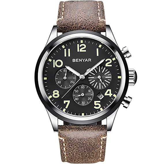 BENYAR Relojes Impermeables Números Luminosos Casual Correa de Cuero Hombre Reloj de Pulsera con Fecha: Amazon.es: Relojes