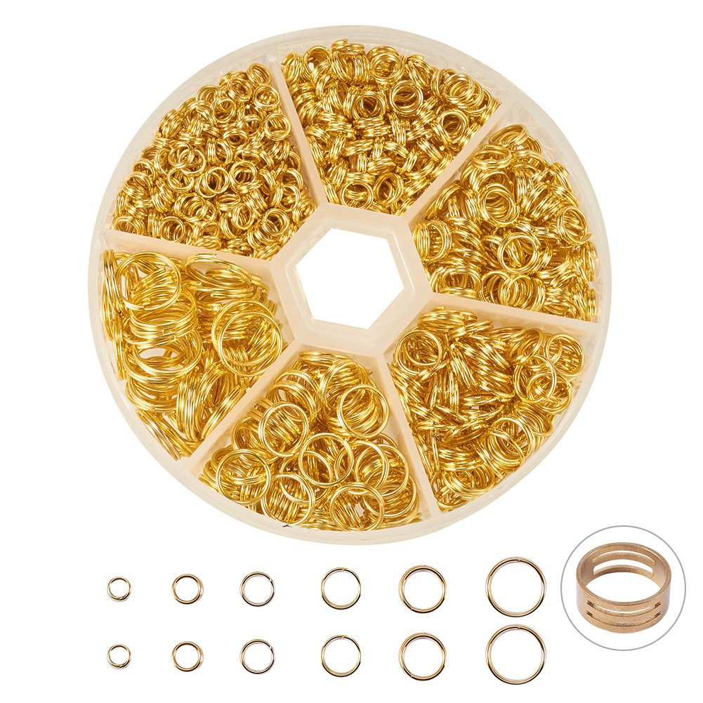 PandaHall Elite About 900 Pcs Iron Split Rings Double Loop Jump Ring Diameter 4-10mm for Jewelry Making Golden PH PandaHall